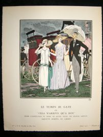 Gazette du Bon Ton by Brissaud 1922 Art Deco Pochoir. Le Temps se Gate